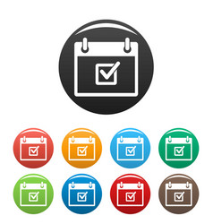 check meeting date icons set color vector image