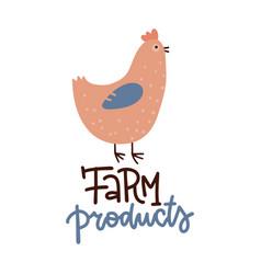 chicken poster fresh healthy farm food vector image
