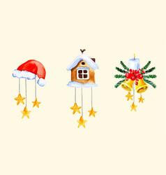 Christmas bells watercolor vector