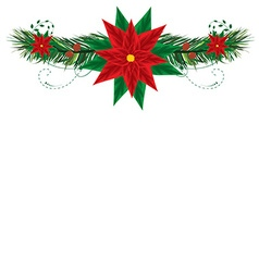 Christmas frame with pointsettia vector
