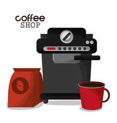 Coffee shop machine bag and red cup vector