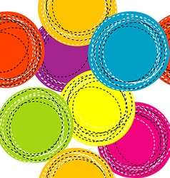 Colorful seamless pattern with sewing round shapes vector