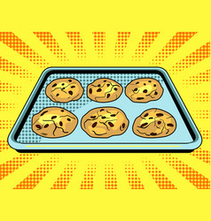 Cookies baking sheet pop art vector