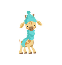 cute little giraffe wearing blue knitted hat and vector image