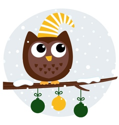 Cute retro owl sitting on the branch vector image