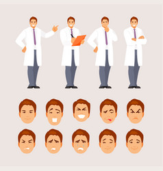 doctor poses and emotions set vector image