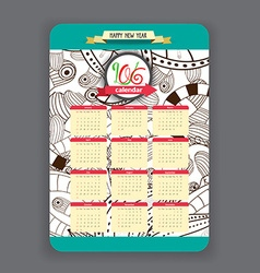 Doodles floral Calendar 2016 year design vector