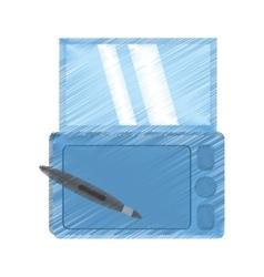 drawing smartphone technology pen digital vector image