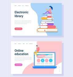 education webpage distance technology vector image