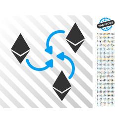 Ethereum mixer swirl flat icon with bonus vector