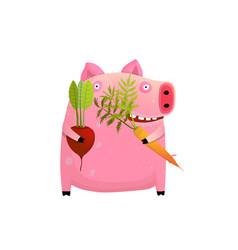 fat pig eating smart vegetable diet vector image