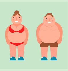 Fat woman flat overweight body vector