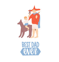fathers day greeting card with funny dad and son vector image
