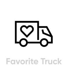Favorite truck delivery icon editable line vector