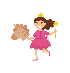 flat of happy little girl in vector image