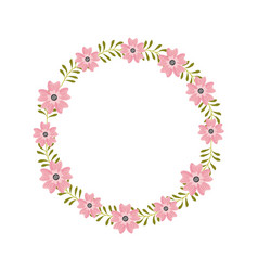 Floral wreath flowers cute arranged herbal natural vector