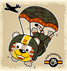 Funny paratrooper cartoon vector