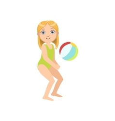 Girl Playing Beach Voleyball vector image