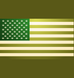Green usa flag with marijuana leaves cannabis vector
