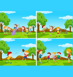 group kids playing in playground vector image
