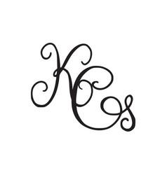 Handwritten monogram kg icon vector