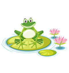 happy frog on lily pad vector image
