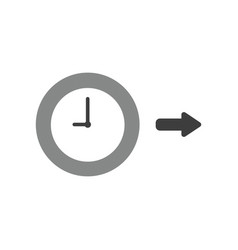 icon concept of clock with arrow pointing right vector image