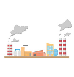 Industrial factory manufacturing building flat vector