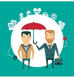 insurance agent holding umbrella vector image