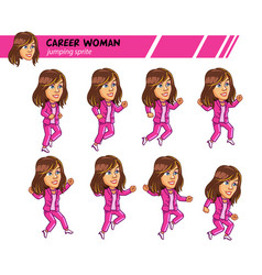 Jumping career woman game sprite vector