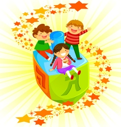 kids on a dreidel vector image