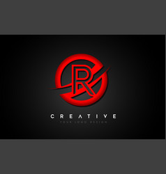 Letter r logo with a red circle swoosh design vector
