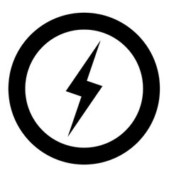 Lightning icon black color in circle or round vector