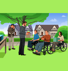 Man giving donation to the disable people in an vector
