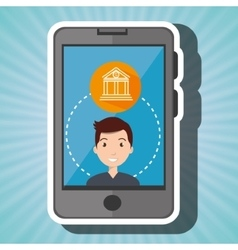Man smartphone with bank isolated icon design vector