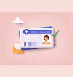 Medical insurance card icon 3d web vector