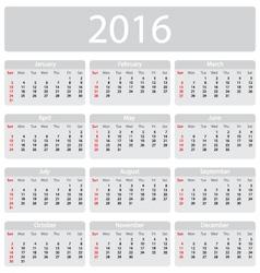 Minimalistic 2016 calendar vector image