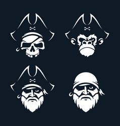 modern professional set emblems pirates vector image