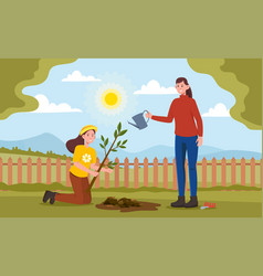 mom and daughter are planting plants and trees vector image
