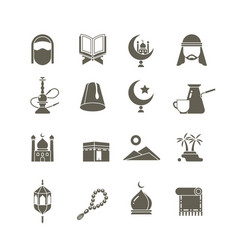 Muslim islamic middle east religion icons vector