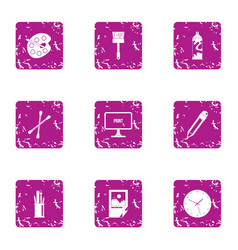 Paint material icons set grunge style vector
