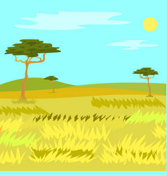 Panorama view savannah grass and tree vector