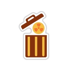 Paper sticker on white background radioactive vector
