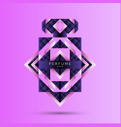 Perfume bottle with geometric pattern bright vector