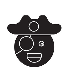 pirate emoji black concept icon pirate vector image