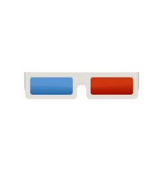 plastic 3d cinema glasses with blue and red lenses vector image