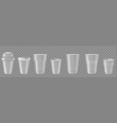 plastic cup realistic transparent disposable cups vector image