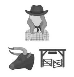 Rodeo competition monochrome icons in set vector