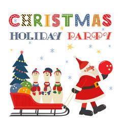 Santa claus bowling pins in sleigh comic poster vector