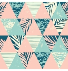 Seamless exotic pattern with palm leaves on vector